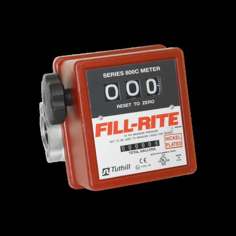 "Fill Rite 807CN1 1"" Nickel Plated 3-Wheel Mechanical Meter"