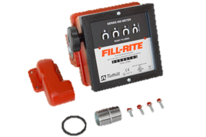 "Fill-Rite 901CLMK300 1.5"" 4 Wheel Mechanical Meter with Fittings"
