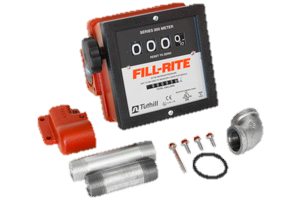 "Fill-Rite 901CMK4200 1"" 4 Wheel Mechanical Meter with Fittings"